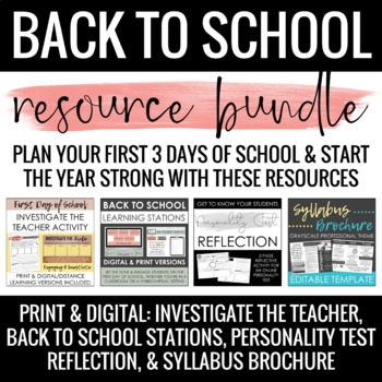 Back to School Bundle: Syllabus, Stations & Activities: Print/Distance Learning