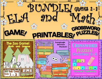Back to School Bundle! ELA  GAMES  MATH  TASK CARDS  GRADES 2 - 3