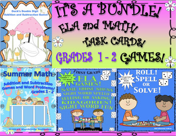 Back to School Bundle! ELA and MATH GAMES WORD PROBLEMS GRADES 1 - 2