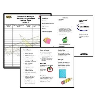 Back to School Bundle {Editable}Open House,Syllabus,Monthly Calendar,Lesson Plan
