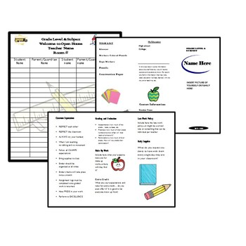 Back to School Bundle {Editable}Open House,Syllabus,Monthly Calendar,Lesson Plan