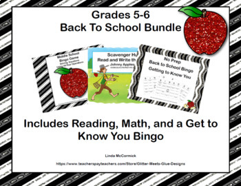 Back to School Bundle-Reading, Math and Get to Know You - Grades 5-6