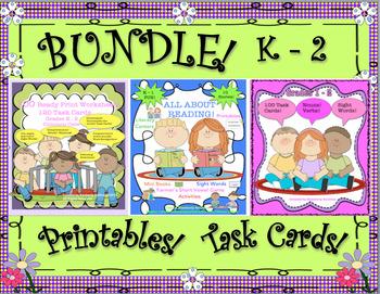 Back to School Bundle Grammar Task Cards Reading Comprehension Grade1