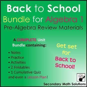 Back to School Bundle (Pre-Algebra Review Materials)