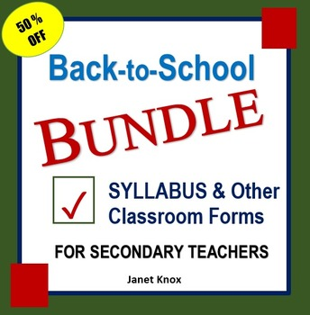 Back to School Bundle:  Syllabus and Classroom Forms for Secondary Teachers