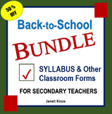 Back to School Bundle:  Syllabus and Classroom Forms for S