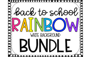 Back to School Bundle (White Rainbow Theme)