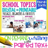 School Topics Bundle • Paired Text Passages & Opinion Writ
