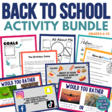 Back to School Activity Bundle for Middle and High School