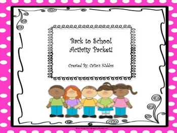 Back to School Activity Packet!