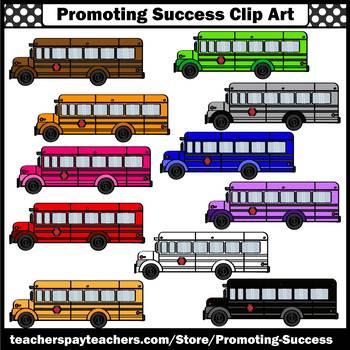 Back to School Bus Clip Art, Colorful Buses Cilpart, Transportation Unit SPS