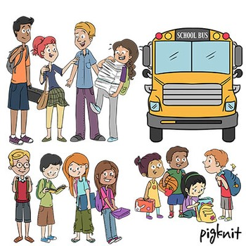 Back to School Bus Stop Kids Clip Art   12 Cute Kids Clipart in 3 Age Groups