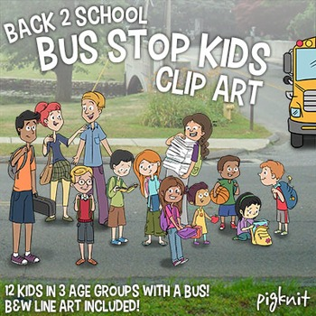 Back to School Bus Stop Kids Clip Art | 12 Cute Kids Clipart in 3 Age Groups