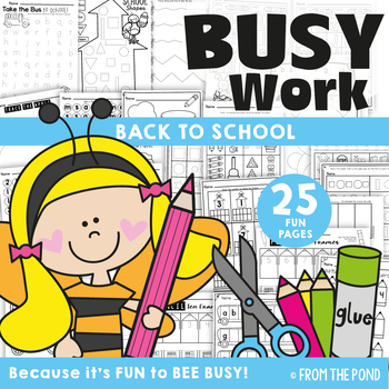 Back to School Worksheet Busy Work Activities