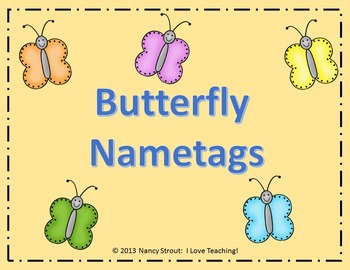 Back to School Butterfly Name Tags