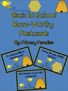 Back to School Postcards: Bee Theme