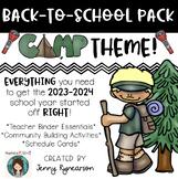 Back-to-School CAMPING Pack! Teacher Binder, Activities, & Schedule Cards!