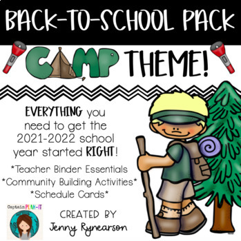 Back-to-School CAMPING Pack! Teacher Binder, Activities, & Schedule Cards!
