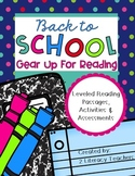 Back to School: CCSS Aligned Leveled Reading Passages and