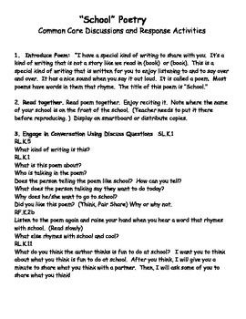 School Theme Back to School CCore Poems Mini Book Print Concepts Kindergarten