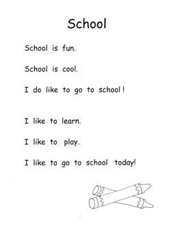 School Back to School C. Core Pack Poems Mini Book Print Concepts Kindergarten