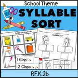 Syllable Sort School Theme Literacy Center RF.K.2c Color + Blackline too