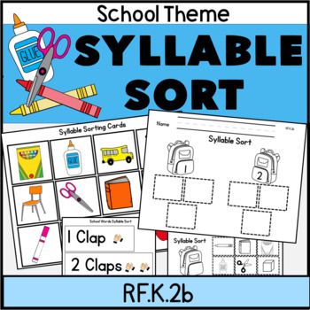 Syllable Sort School Theme Literacy Center RF.K.2c Color + Blackline too