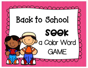 Back to School - COLOR WORD GAME - seek a color word