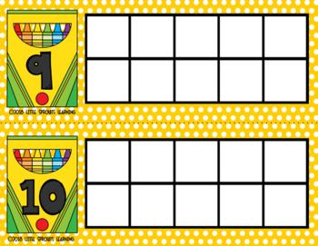 Back to School CRAYON Ten Frames (includes worksheet)