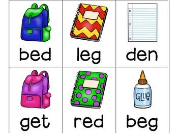 Back to School CVC, CCVC and CVCC Word Card Games