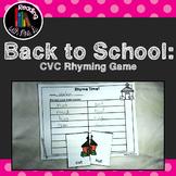 Back to School CVC Rhymes Match Game