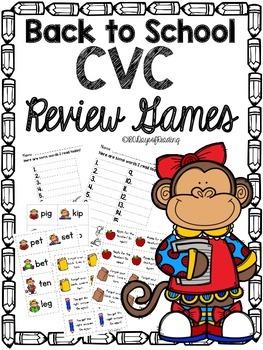Back to School CVC Short Vowel Review Games!