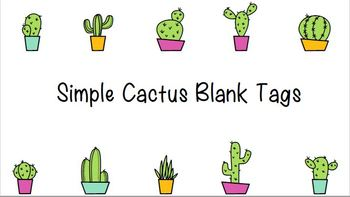 Back to School Cactus Theme Tags