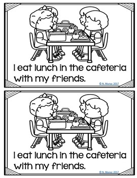 Back to School Cafeteria Rules and Procedures for Kindergarten and First Grade