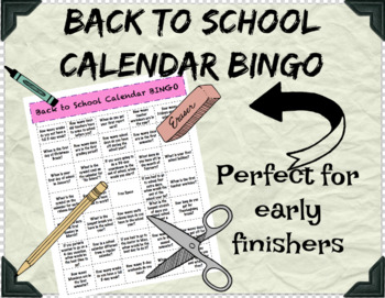Back to School Calendar BINGO