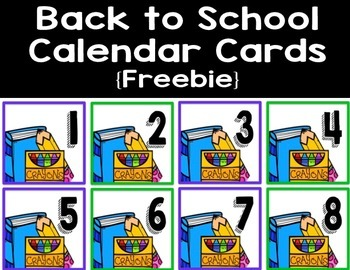 Back to School Calendar Cards - Free