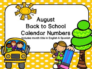 Back to School Calendar Numbers