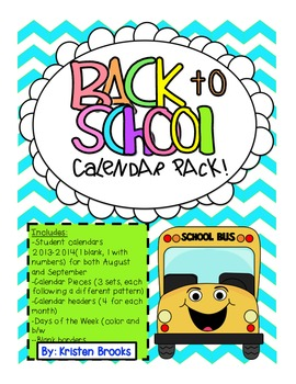 Back to School Calendar Pack! (August and September)