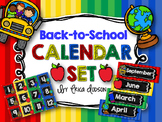 Back to School Calendar Set {Chalkboard & Stripes}