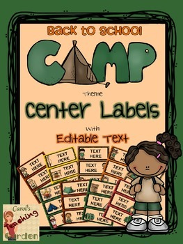 Back to School Camp Theme Center Labels or Tags with Editable Text