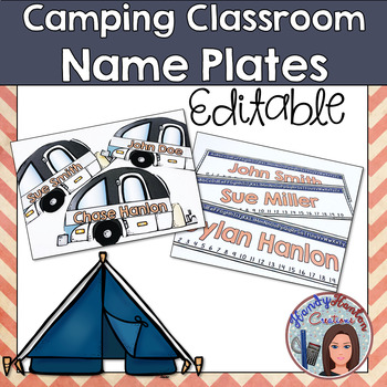 Back to School Camping Classroom Name Plates