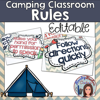Back to School Camping Classroom Rules Editable Posters