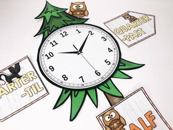 Back to School Camping Classroom Tree Clock