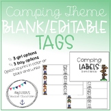 Back to School Camping Theme Editable Labels