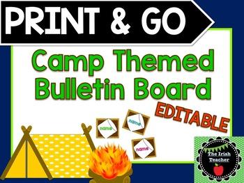 PRINT & GO Camping Themed EDITABLE Bulletin Board