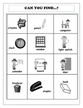 Back to School Can You find...? Activities