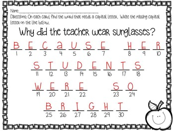 Back to School Capitalization Task Cards