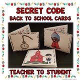 Back to School Activities - Teacher to Student Cards-Secret Code
