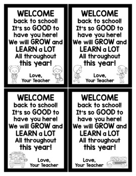 Back to School Cards for Students - Editable in color & black and white!
