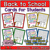 Back to School Cards for Students - Editable in color & bl